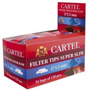 Филтри за цигари 5,3 мм Супер Слим Cartel 34 х 120 броя