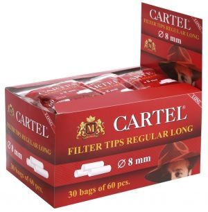 Дисплей с филтри за цигари Cartel LONG Regular 8 mm  х  30 торбички